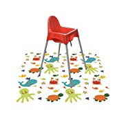 Splat Mat for Under High Chair/Arts/Crafts, Wo Baby Reusable Waterproof Anti-slip Floor Splash Mat, Portable Play Mat and Table Cover (51 , Seaworld)
