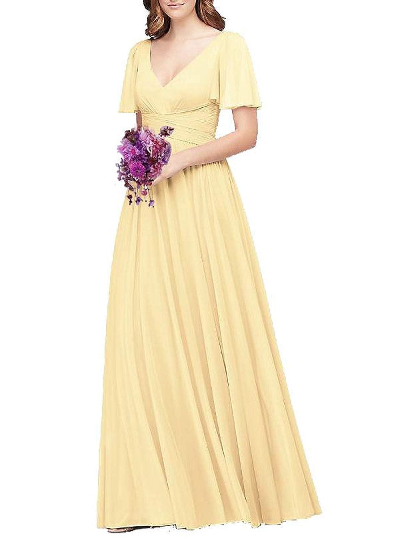 Cornhusk Flutter Sleeve Long Ball Prom Gown for Women Formal Bridesmaid Dress Maxi Skirt