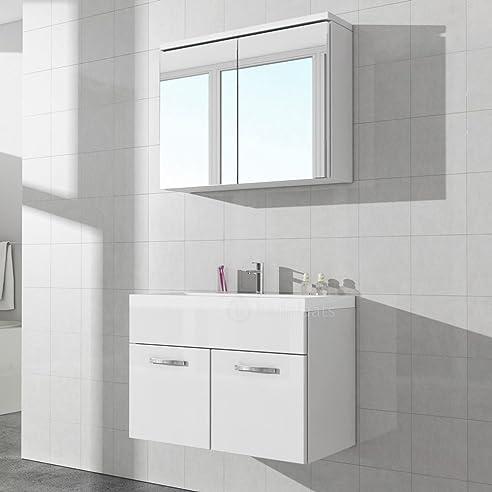 Badezimmerschrank Paso 02 80 cm Waschbecken weiß hochglanz ...