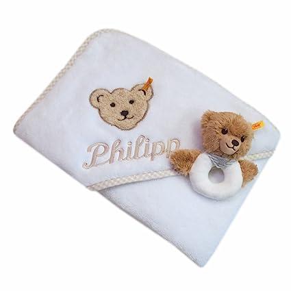 Steiff Juego de toalla con capucha con su nombre bordado Blanco 100 cm x 100 cm