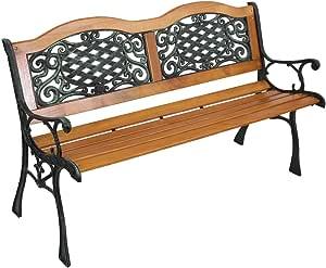 "49"" Garden Bench Patio Porch Chair Deck Hardwood Cast Iron Love Seat (A Type)"