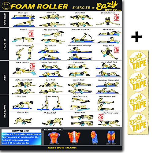 Eazy How To Foam Roller Poster Exercise Workout BIG 20 x 28' Relax, Stretch, Heal Muscle Therapy Home Gym Chart