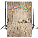 DODOING Vinyl Backdrop Photography 5x7ft Photography Background Wooden Board Wall Floor Baby Theme Colorful Balloon Bear Newborn Baby Children Party Photos Backdrop Photo Studio Props