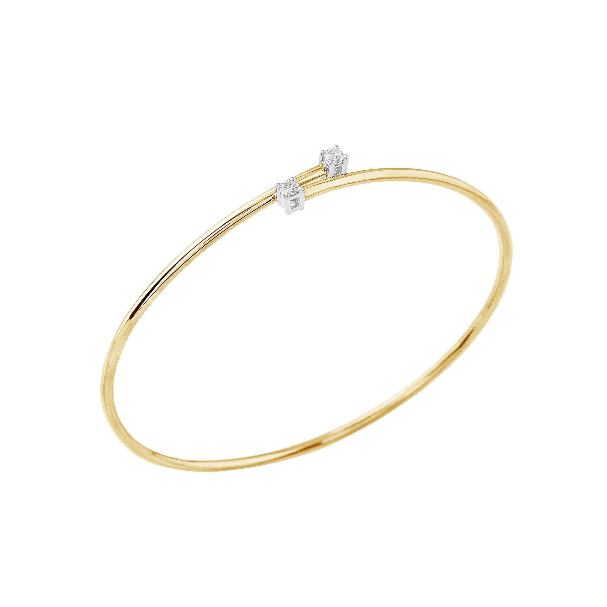 Flexible Diamond Bypass Bracelet 2 Stone (yellow-gold)