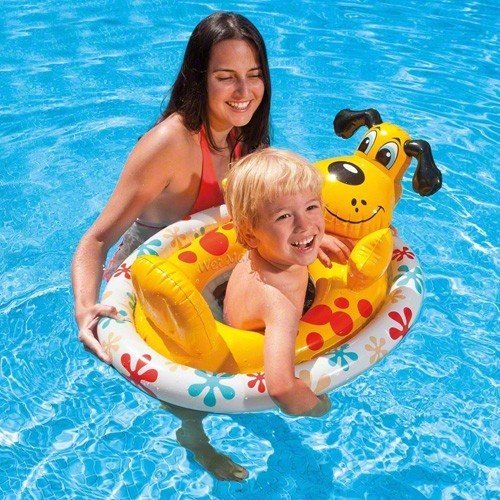 Intex Inflatable Swimming Pool See Me Sit Pool Float Rider For Kids (Dog) by Toy Co.