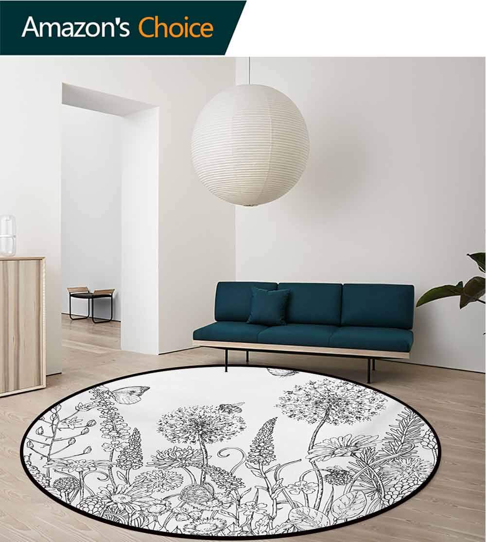 RUGSMAT Floral Round Kids Rugs,Sketchy Hand Drawn Style Garden with Various Flowers Leaves and Grass Image Non Skid Nursery Kids Area Rug for Bedroom Machine Washable,Diameter-55 Inch by RUGSMAT (Image #2)