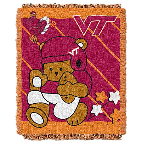 "The Northwest Company Officially Licensed NCAA Virginia Tech Hokies Fullback Woven Jacquard Baby Throw Blanket, 36"" x 46"""