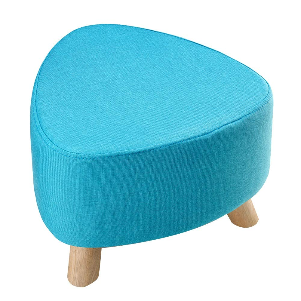 bluee 39cm A WEIYV-Barstools,bar Chair Triangle Small Stool Washable Change shoes Stool European Style Cloth Sofa Stool Wearing shoes Low Stool Solid Wood Seat (30 39cm) (color   Yellow30CM, Size   A)