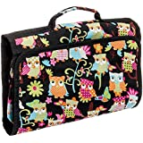 Silverhooks Hanging Travel Cosmetic Case Bag (Multi-Color Owl Print)