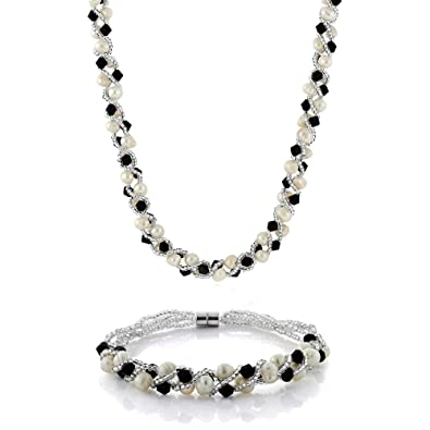 "Amazon 17"" White Cultured Freshwater Pearl & Black Crystal"