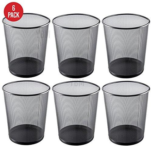 Ybmhome Steel Mesh Round Open Top Waste Basket Bin Trash Can Office Home 2484-6 (6, Black)