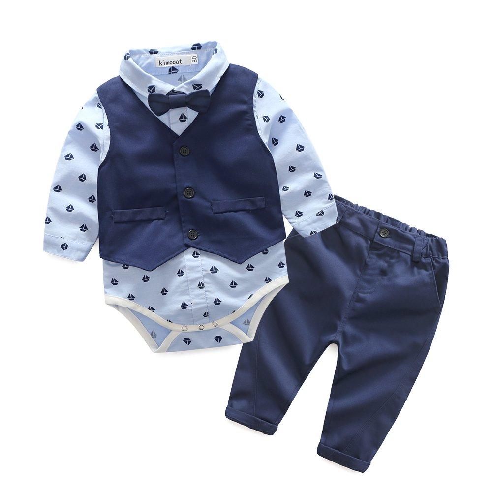 Kimocat Baby Boys Gentleman Bowtie Blue Suits Set Long Sleeve +Vest+Pants