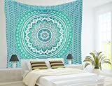 "Popular Handicrafts Twin Ombre Tapestry Indian Mandala Wall Art, Hippie Wall Hanging, Bohemian Bedspread 54""x84"""