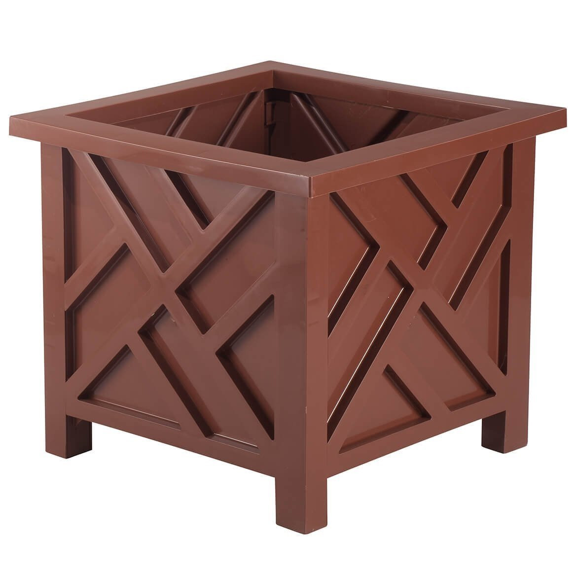 Chippendale Planter | Container Box for Garden, Patio, and Lawn Outdoor Decor | Red | By Trenton Gifts