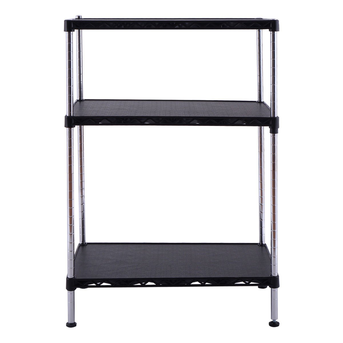 Global House Products GHP 23.6''x13.8''x35.4'' Black Chrome Plated Steel Frame & Plastic 3-Tier Storage Rack