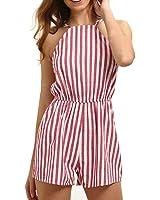 63cf5c27f42f Sunward Women s Stripes Spaghetti Strap Backless Romper Playsuit Jumpsuit