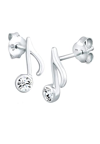 Meixao Ladies Jewellery S925 Sterling Silver Studs Earrings Cubic Zirconia Music Note for Women Gift dQZMfjn6g