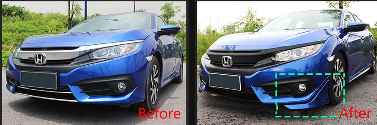 8 Generation 4 Door 4Dr Sedan Si DX DX-G LX EX EX-L i-VTEC Honda Civic Eyelids Eyebrows Lids Headlight Trim Covers Brows Lid JDM Car Molding Cover Bumper Guard Trims Light Lights Ciimo Ming Acura CSX PartPlaza Automotive 4drciviceyelids