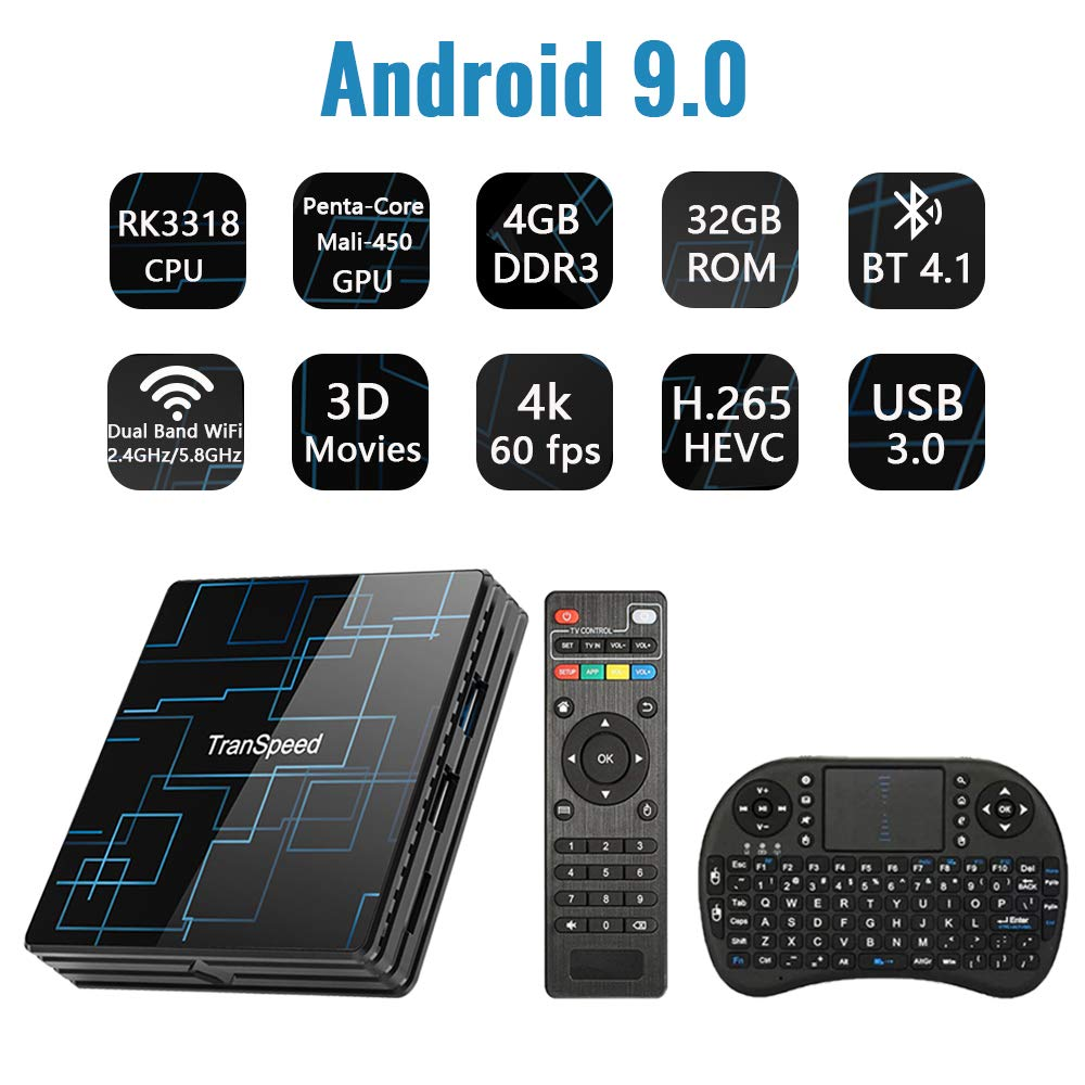 Android TV Box 9.0 4GB RAM 32GB ROM Set Top Box Smart TV Box RK3318 USB 3.0 Ultra HD 4K HDR Dual Band WiFi 2.4GHz 5.8GHz BT 4.1 Streaming Media Player with Wireless Keyboard by C Cosycost