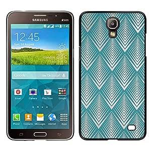 Samsung Galaxy Mega 2 / SM-G750F / G7508 Único Patrón Plástico Duro Fundas Cover Cubre Hard Case Cover - Teal Art Deco Vintage Wallpaper Pattern