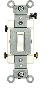 Leviton 54503-2W 15 Amp, 120/277 Volt, Toggle Framed 3-Way AC Quiet Switch, Commercial Grade, Grounding, White