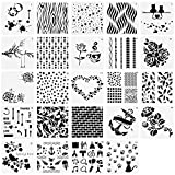 LANIAKEA 24 PCS Bullet Journal Stencil Plastic Stencils Set for Journal/Notebook/ Diary/Scrapbook DIY Drawing Template Stencil 5x5 inch