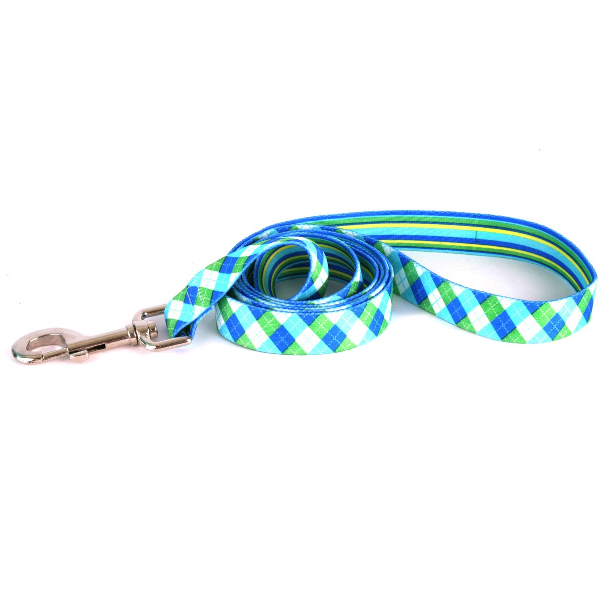 Yellow Dog Design Blue And Green Argyle Dog Leash 1'' Wide And 5' (60'') Long, Large