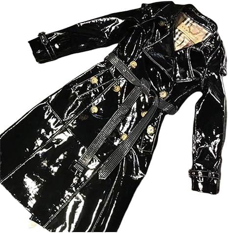 SANJIBAO Chaqueta de Cuero de Las Mujeres (4 Colores) Larga Capa del Cuero de Patente Brillante de Cuero Mujer Moda Escudo Foso de la Capa de un Solo Pecho,Negro,M: Amazon.es: Hogar