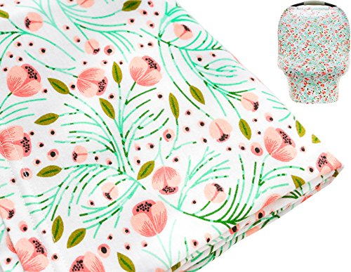 Multi-use Stretchy Nursing Cover | Baby Car Seat Canopy | Shopping Cart Cover | High Chair Protector | Flower Design | Perfect for Breastfeeding Mothers | Great Baby Shower Gift by Mila Millie (Car Seat Infant Chic Cover)