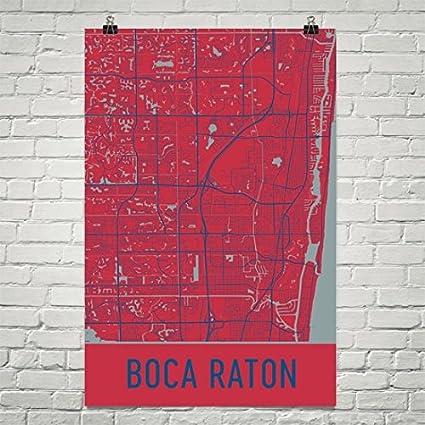 Map Of Boca Raton Florida.Amazon Com Boca Raton Poster Boca Raton Art Print Boca Raton Wall