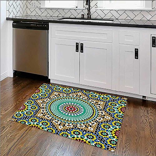 Water-Repellent Rugs chitectural Glazedative Wall Tile Ceramic Historical Travel Destinatis All Purpose High Density Non-Slip W24''xH18'' by SCOCICI1588
