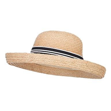 2a5051e4f5b Jeanne Simmons Women s Raffia Kettle Brim Ribbon Hat - Natural OSFM at  Amazon Women s Clothing store
