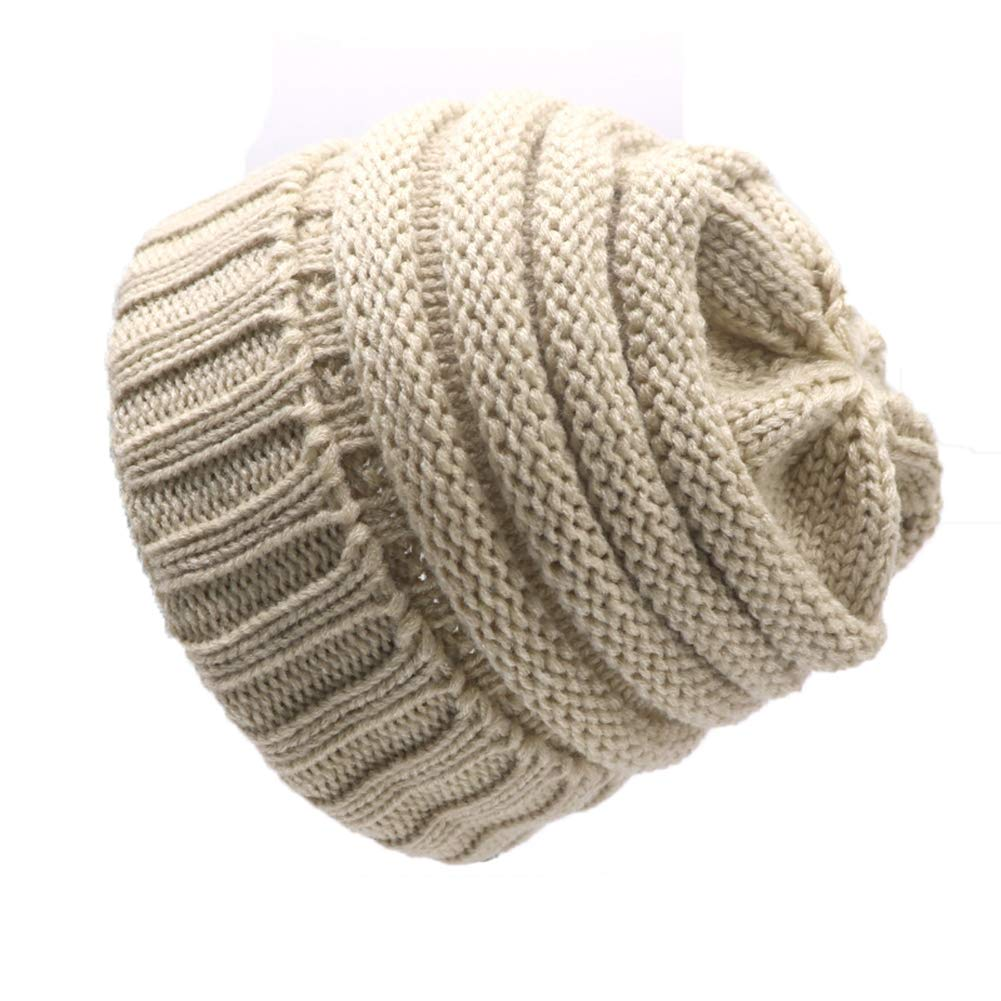 Unisex Slouchy Beanie Knitted Cotton Warm Cap Winter Fashion Casual Solid Color Hat