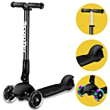 3 Wheel scooter,Banne Height Adjustable Foldable Assemble Free Smooth Riding Lean to Steer Kick Scooter With Flashing PU Wheel Supports 176 lb Weight(Black)