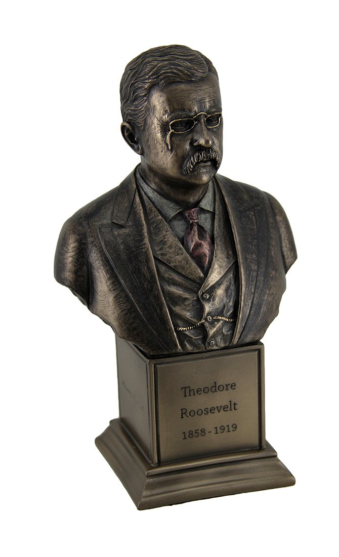 Resin Statues Theodore Roosevelt Bronze Finish Statue On Inscribed Plinth 4.25 X 7.25 X 2.75 Inches Bronze