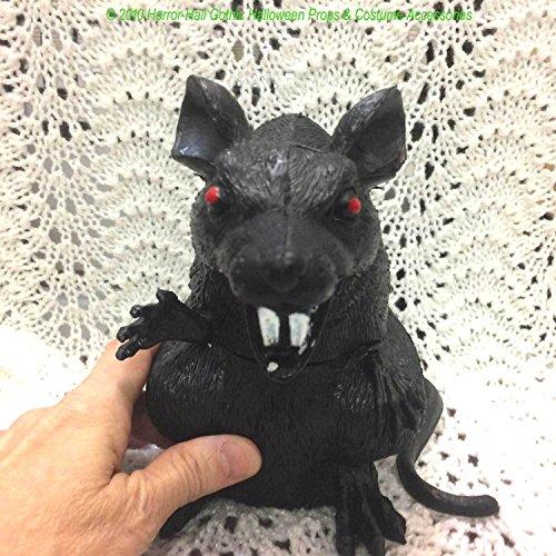 Hunchback BIG BLACK RAT Standing Horror Monster Rodent Prop Decoration-7-in Tall