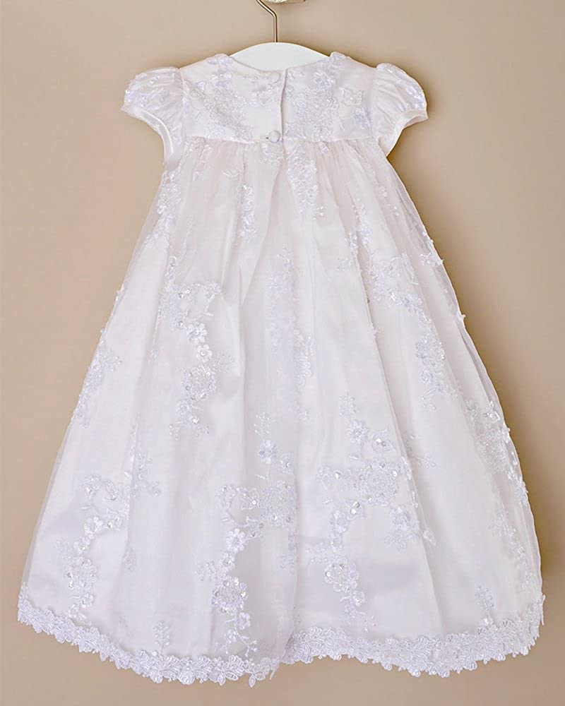 Kelaixiang Short Sleeves White Lace Satin Christening Gown with Bowknot Floor Length