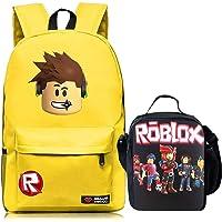 Kid Roblox Mochila + lonchera aislada para la escuela, viajes al aire última intervensión