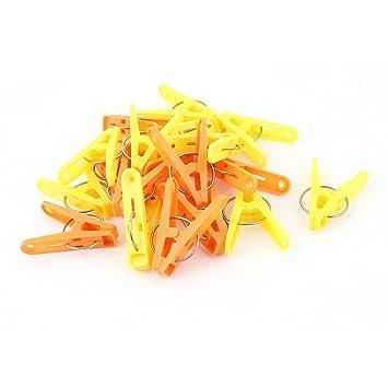 sourcingmap® 20Stk Gelb Orange Plastik Socken Wäsche Kleider Pins ...