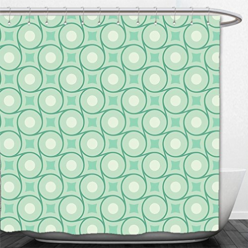 Interestlee Shower Curtain Mint Circles and Dots Linked with Lines Wavy Squares Geometric Retro Style Mint Emerald Almond - Emerald Macy's Square