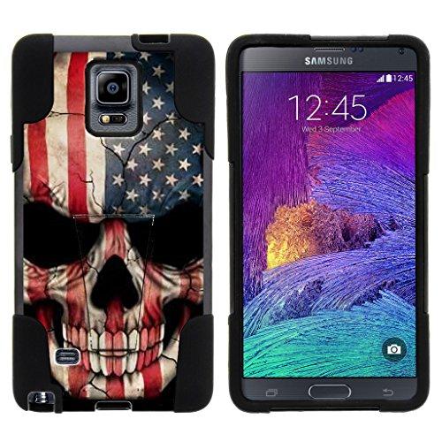 TurtleArmor | Samsung Galaxy Note 4 Case | N910 [Gel Max] Hybrid Dual Layer Hard Shell Kickstand Silicone Case - US Flag Skull
