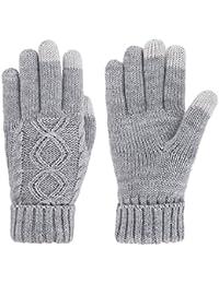 Women's Cable Knit 3 Finger Touchscreen Sensitive Winter Mitten Gloves