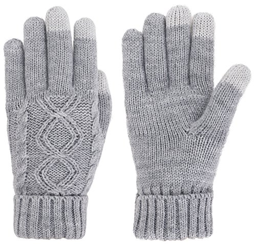 Simplicity Womens Winter Gloves With Touchscreen Fingers Grey Knit Gloves