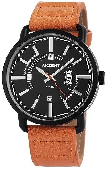 Reloj De Hombre Acento Con Piel imitations pulsera color marrón claro Negro Moderno Analógico de Cuarzo Hombre Reloj de pulsera: Amazon.es: Relojes