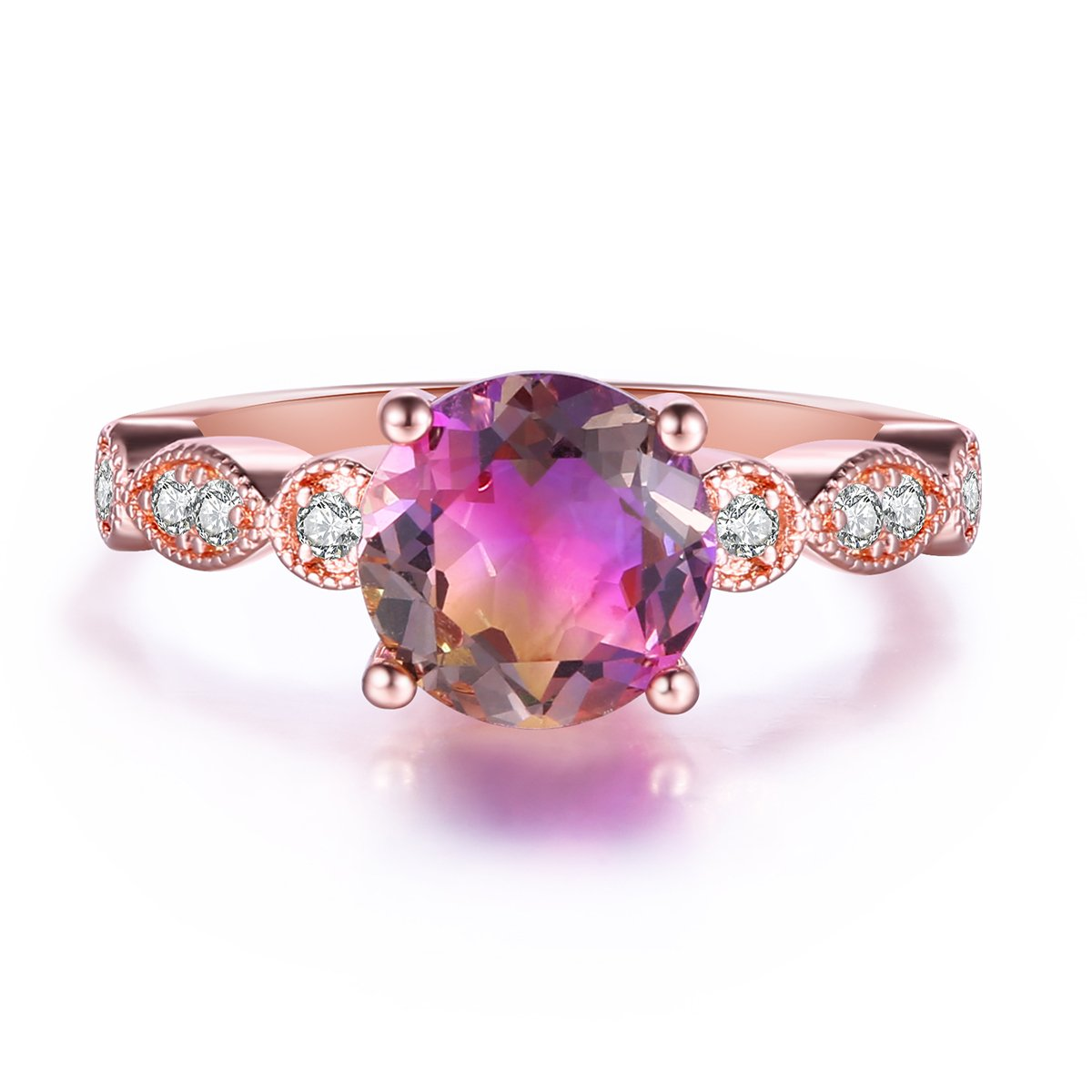 Round Simulated Ametrine Crystal Purple Yellow Gradient Solitaire Rings for Women, Rose Gold Plated Size 5