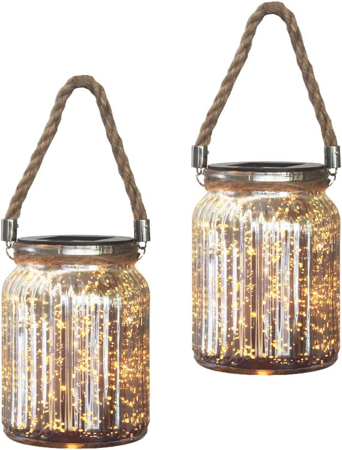 VIITION Solar Mercury Glass Mason Jar Lights, Patio Decor 2 Pack Silver Outdoor Tabletop Lanterns for Garden Backyard Outdoor Decor and Home Decoration (Thickened Glass)