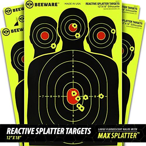 beeware-12x18-reactive-fluorescent-silhouette-splatter-targets-50-pack