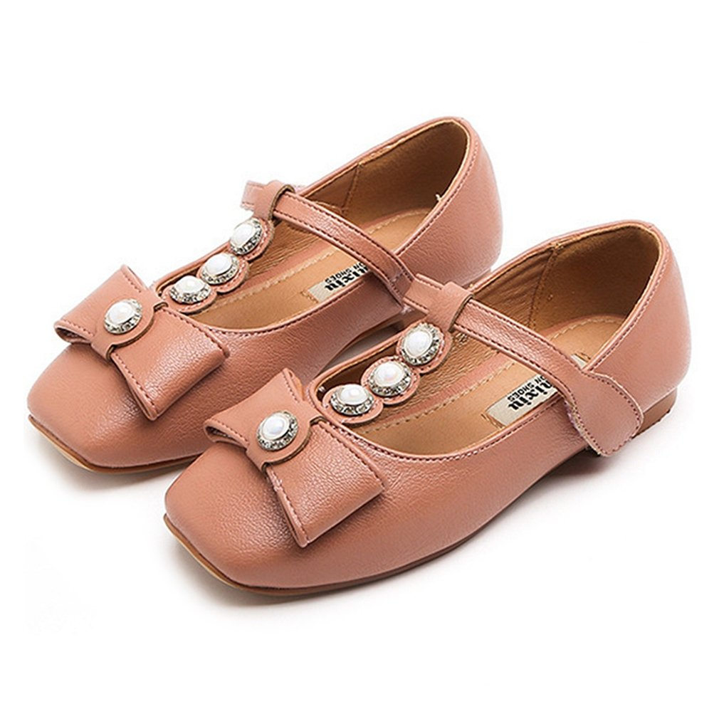 CYBLING Girls Ballet Flats Pearl Bowknot Mary Janes Princess Dress Shoes (Toddler/Little Kid/Big Kid)