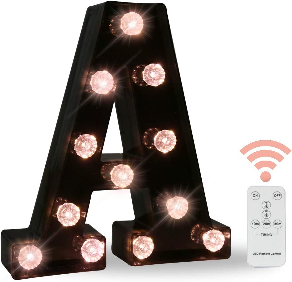 Black Marquee Letters with Lights, LED Letter Light Up Letters Battery Operated Dimmable for Wall Decor, Wedding, Birthday Decorations -Black Letter A
