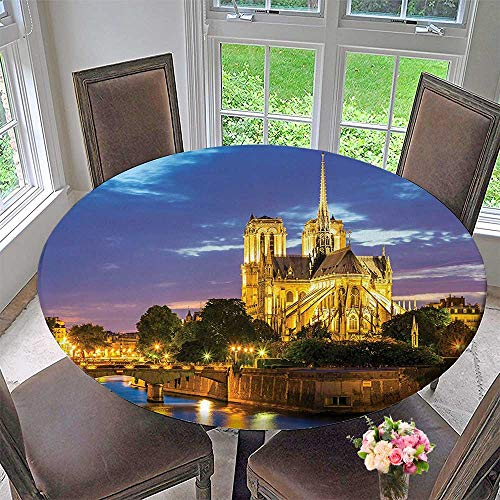 Mikihome Chateau Easy-Care Cloth Tablecloth Collection Notre Dame Cathedral at Dusk in Paris France Riverside Scenery Lights Reflection for Home, Party, Wedding 55